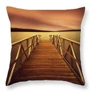 Sunset Dock Throw Pillow