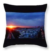 Sunset La Defense Paris France Throw Pillow