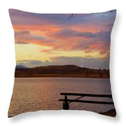 Sunset Lake Picnic Table View  Throw Pillow