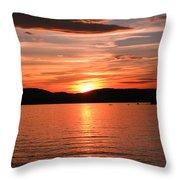 Sunset-lake Waukewan 1 Throw Pillow by Michael Mooney