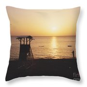 Sunset Life Guard Throw Pillow