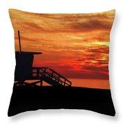 Sunset Lifeguard Station Series Throw Pillow