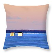 Sunset Light On The Ice Fishing Huts 2  Throw Pillow