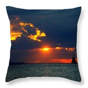 Sunset Montauk Ny Throw Pillow
