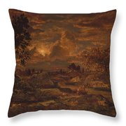 Sunset Near Arbonne , Theodore Rousseau Throw Pillow
