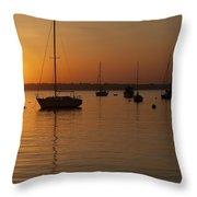 Sunset Newport Boats Throw Pillow