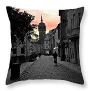Sunset Of Castle Church Throw Pillow