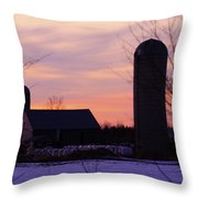 Sunset On A Dairy Farm Throw Pillow by Kathy DesJardins