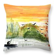 Sunset On A Lake Throw Pillow