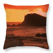 Sunset On A Rocky Coast Throw Pillow