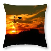 Sunset On A Windmill Jal New Mexico Throw Pillow