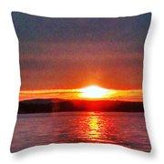 Sunset On A Yacht  Throw Pillow