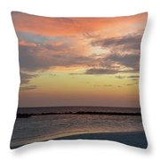 Sunset On An Idyllic Island In Maldives Throw Pillow