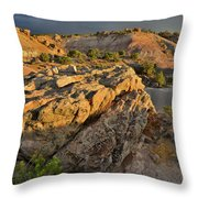 Sunset On Boulders Of Bentonite Site On Little Park Road Throw Pillow