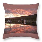 Sunset On Caledonian Canal Throw Pillow