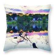 Sunset On Kenoza Lake Haverhill Ma Reflection Throw Pillow