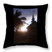 Sunset On Kona Church  Throw Pillow