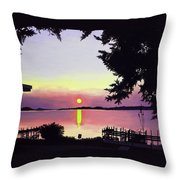 Sunset On Lake Dora Throw Pillow