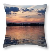 Sunset On Lake Mattoon Throw Pillow