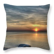Sunset On Long Island Sound Throw Pillow
