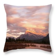 Sunset On Mount Rundle Throw Pillow