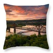 Sunset On Ohio River  Throw Pillow
