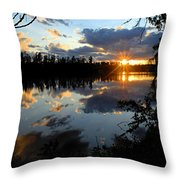 Sunset On Polly Lake Throw Pillow by Larry Ricker