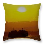 Sunset On Puget Sound Throw Pillow