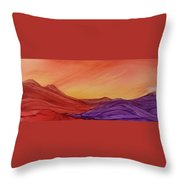 Sunset On Red And Purple Hills Throw Pillow