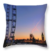 Sunset On River Thames Throw Pillow by Jasna Buncic