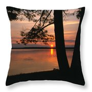 Sunset On Sister Bay Throw Pillow