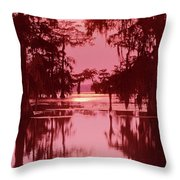 Sunset On The Bayou Atchafalaya Basin Louisiana Throw Pillow