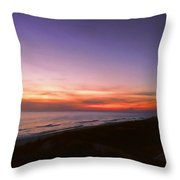 Sunset On The Beach At Cape San Blas, Florida Throw Pillow
