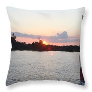 Sunset On The Cape Fear River North Carolina Throw Pillow