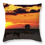 Sunset On The Clearwater Beach Throw Pillow