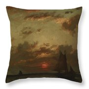 Sunset On The Coast 1870 Throw Pillow