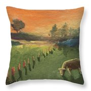 Sunset On The Farm Throw Pillow