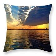 Sunset On The Hudson 03 New York Throw Pillow