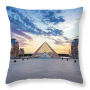 Sunset On The Louvre Throw Pillow