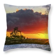 Sunset On The North Shore Of Oahu Throw Pillow