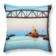 Sunset On The Port Of Chicago Waterfront Throw Pillow
