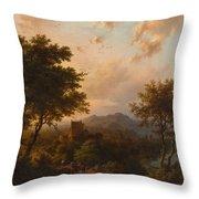 Sunset On The Rhine , Barend Cornelis Koekkoek Throw Pillow