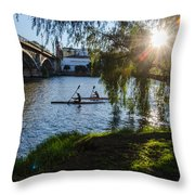 Sunset On The River - Seville  Throw Pillow