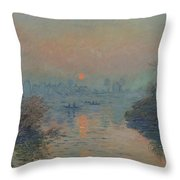 Sunset On The Seine At Lavacourt, Winter Effect Throw Pillow