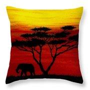 Sunset On The Serengeti Throw Pillow
