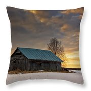 Sunset On The Snowy Fields Throw Pillow