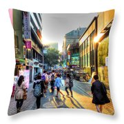 Sunset On The Streets Of Seoul Throw Pillow