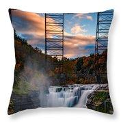 Sunset On The Upper Falls Throw Pillow