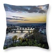 Sunset On The Vltava Throw Pillow