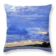 Sunset On The Volga. Gorodets Throw Pillow